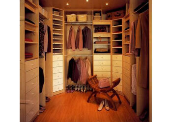 Compact walk in wardrobe